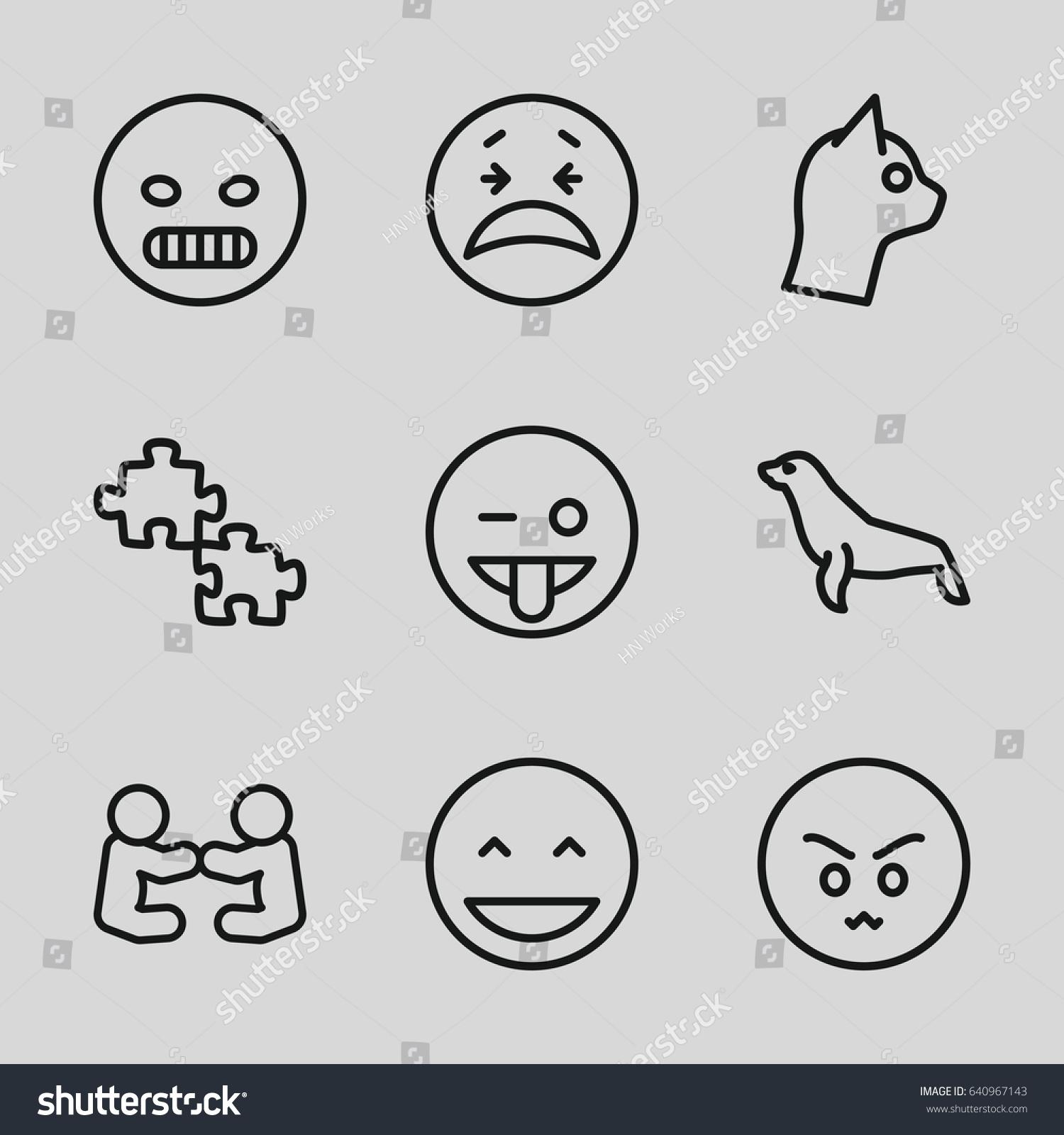 character icons set set 9 character stock vector 640967143