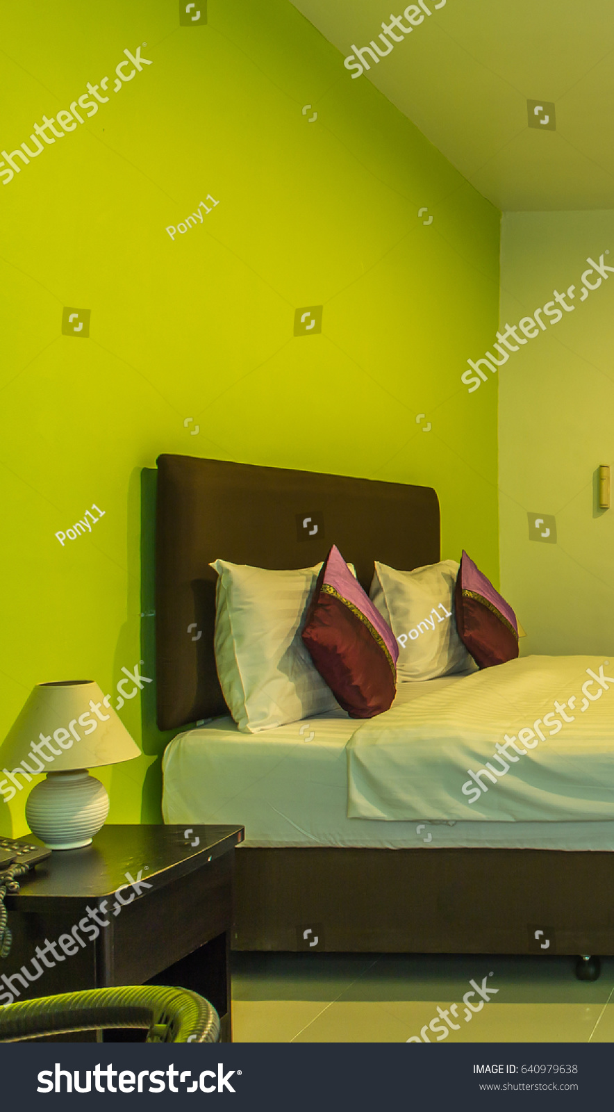 Green Color Wall Modern Room Hotel Stock Photo (Royalty Free ...