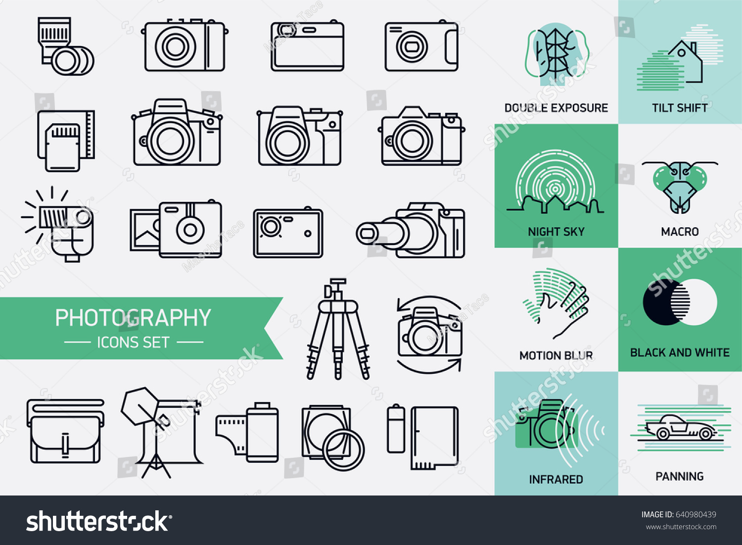 Vector icons on photography equipment, techniques and principles in trendy  linear flat design. Design