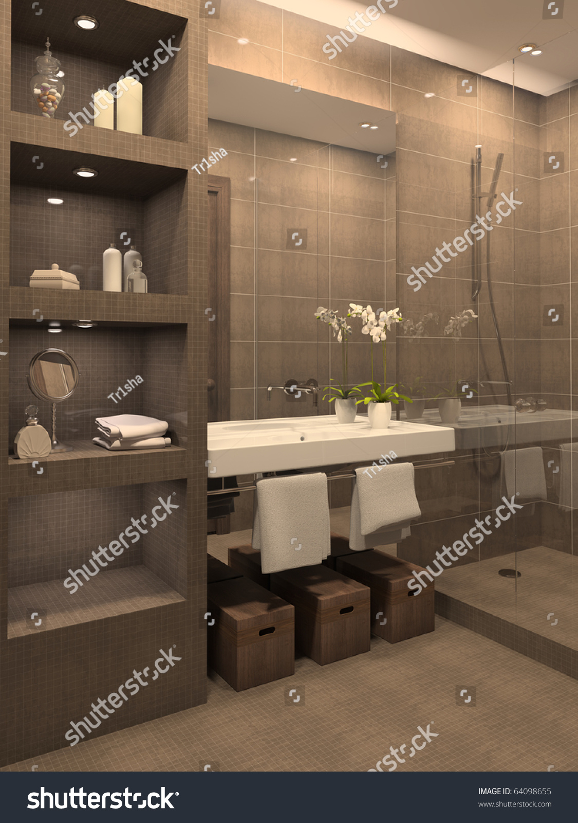 Modern bathroom interior 3d render stock photo 64098655 for Modern interior bathroom