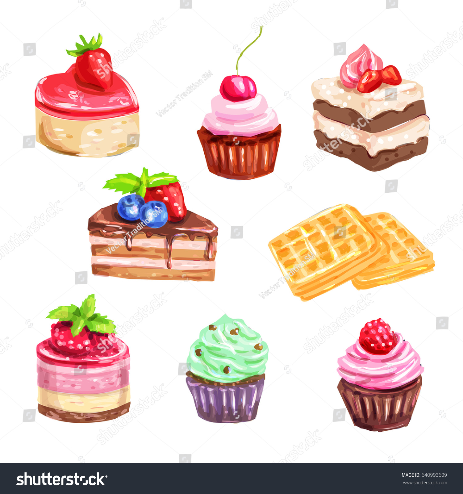 Cake Pastry Dessert Set Watercolor Chocolate Stock Vector (2018 ...