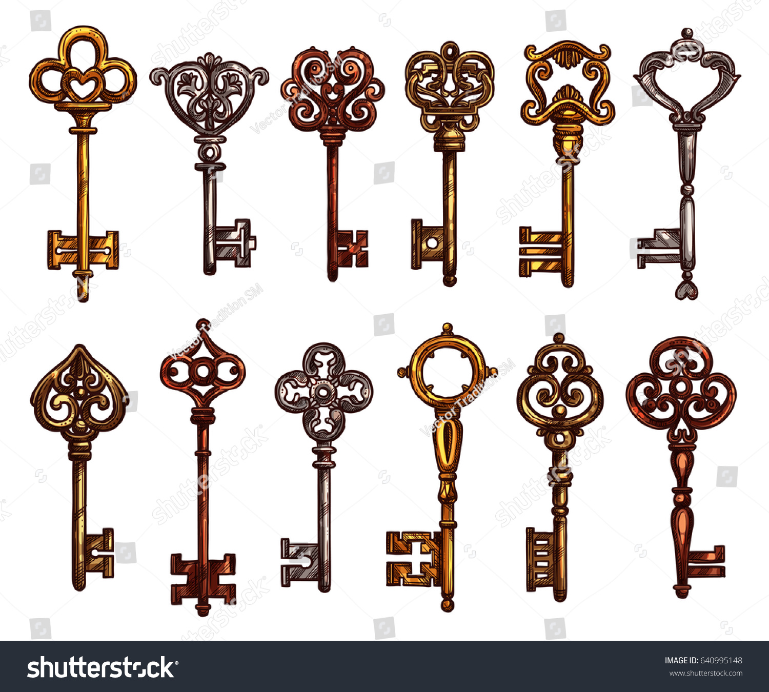 Key vintage skeleton key isolated sketch stock vector for Door key design