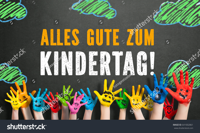 Many Painted Kids Hands Smileys Message Stockfoto Jetzt Bearbeiten
