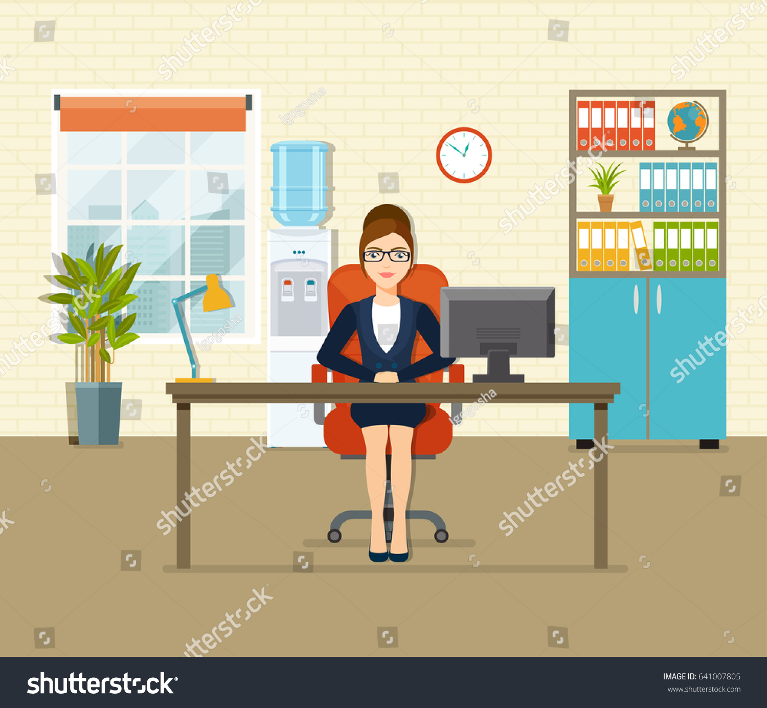 Cartoon kitchen with cabinets and window vector art illustration -  Vectors Illustrations Footage Music Office Workplace With Table Bookcase Window Business Woman Working At Her Office Desk
