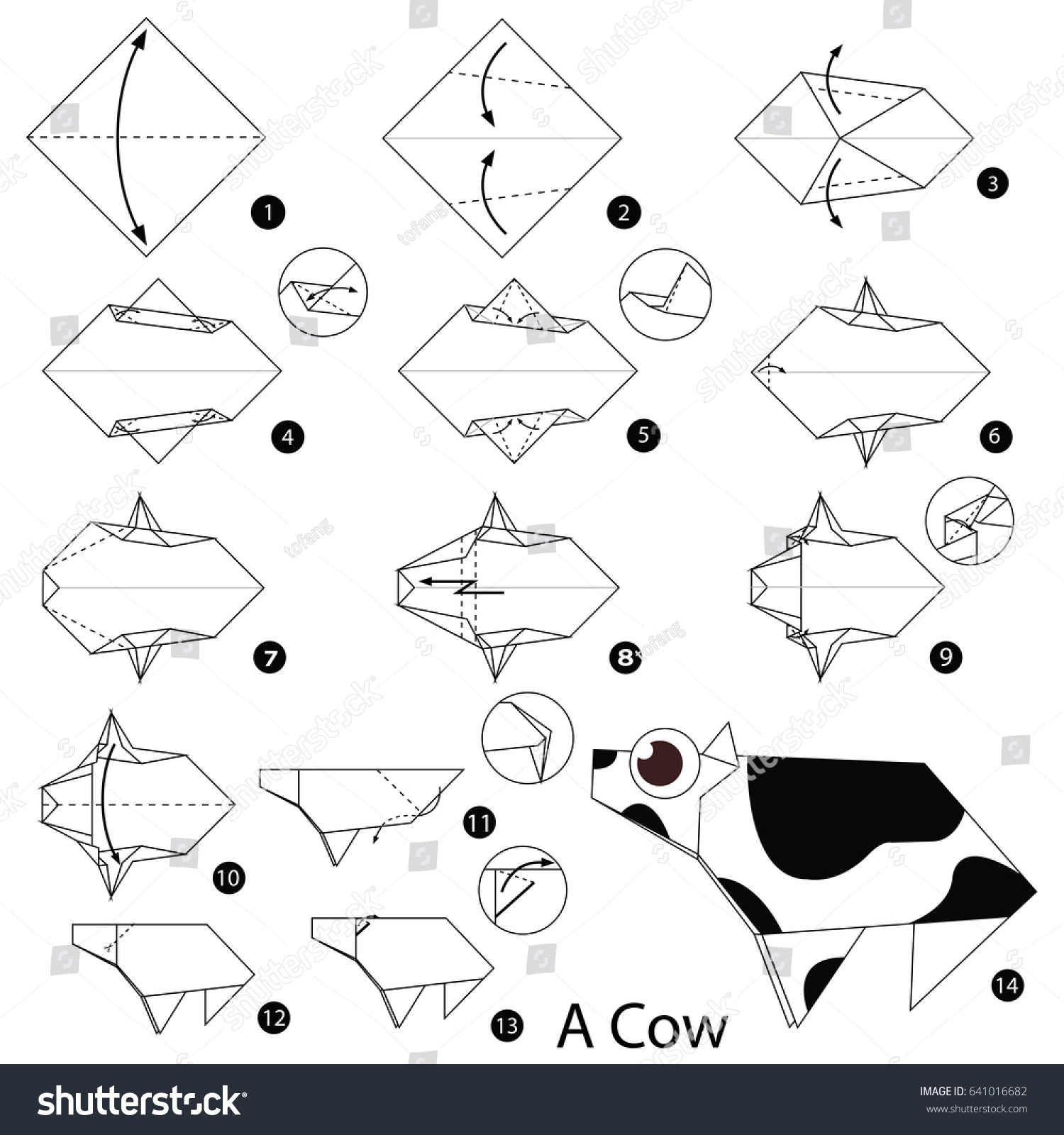 Step By Instructions How To Make Origami A Cow