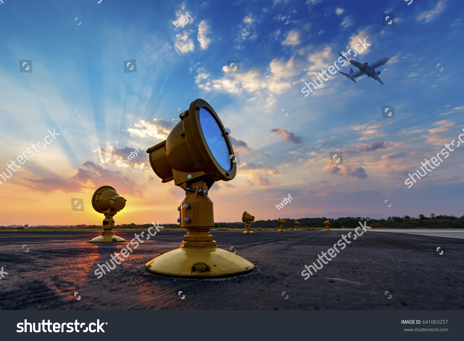Airport Approach Landing Lights Stock Photo (Edit Now) 641063257