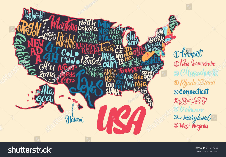 Silhouette Map Usa Handwritten Names States Stock-Vrgrafik ... on