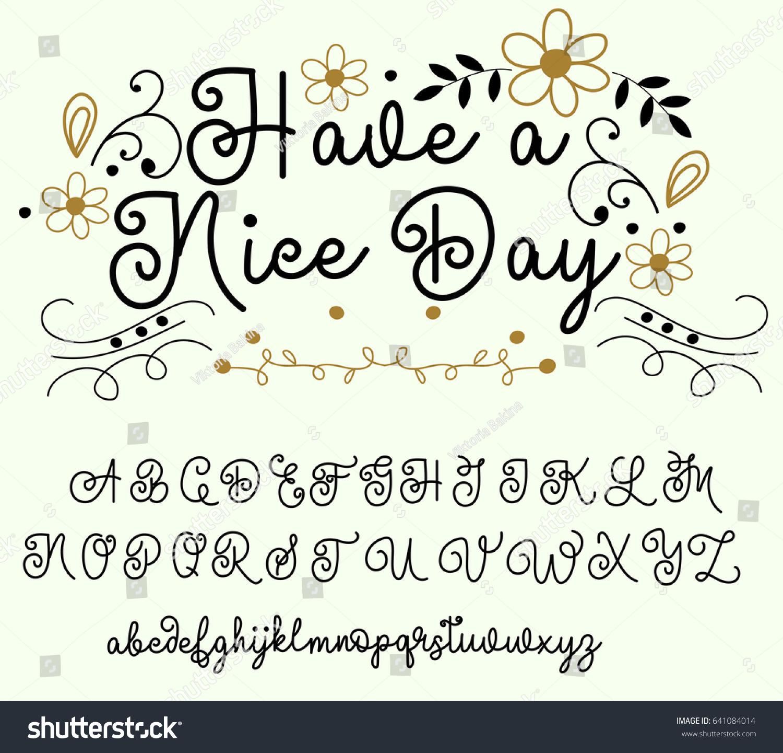 Calligraphy Tattoo Alphabet English Script Lowercase Stock