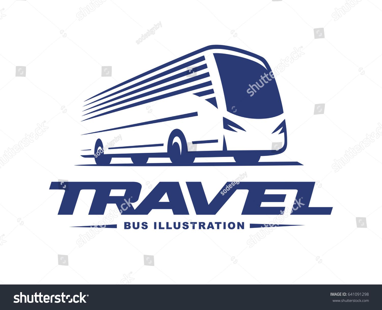 travel bus illustration logo on light stock illustration 641091298