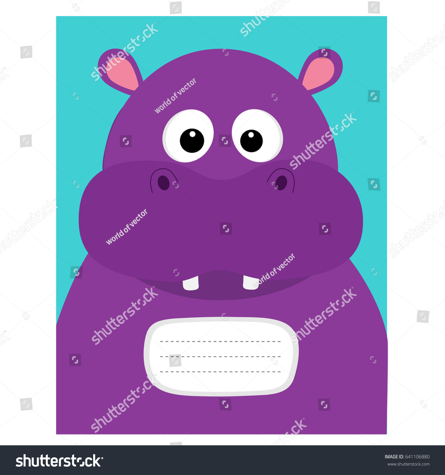 Composition Book Cover Background ~ Notebook cover composition book template hippopotamus head face