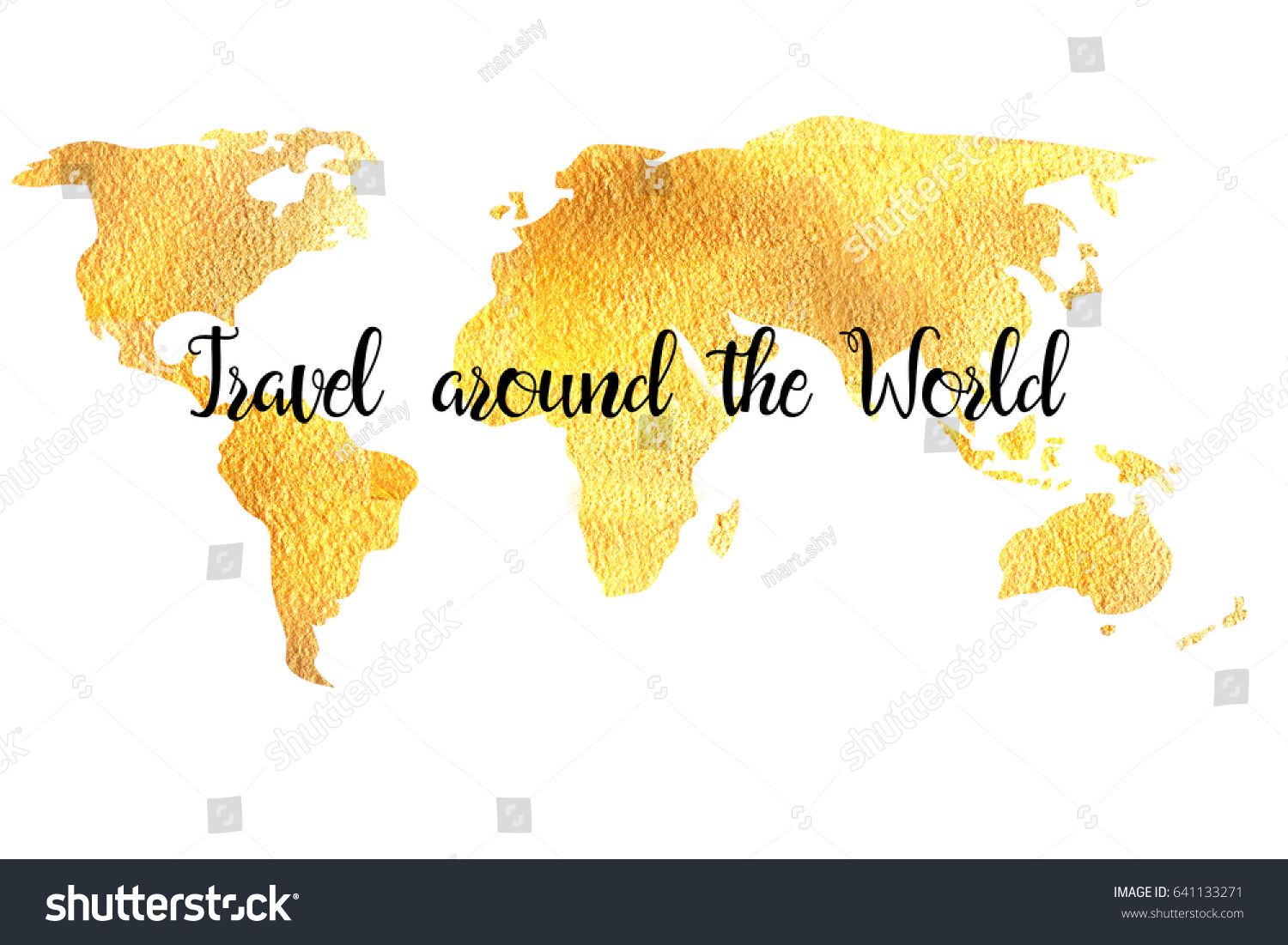 Gold World Map Label Travel Around Stock Illustration - World map to label