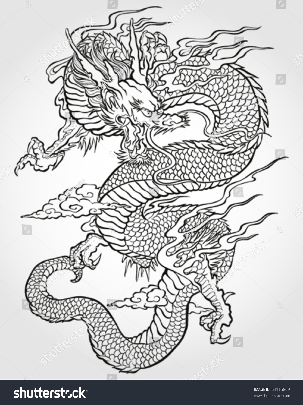 Tradition Asian Dragon Illustration Stock Vector 64115869