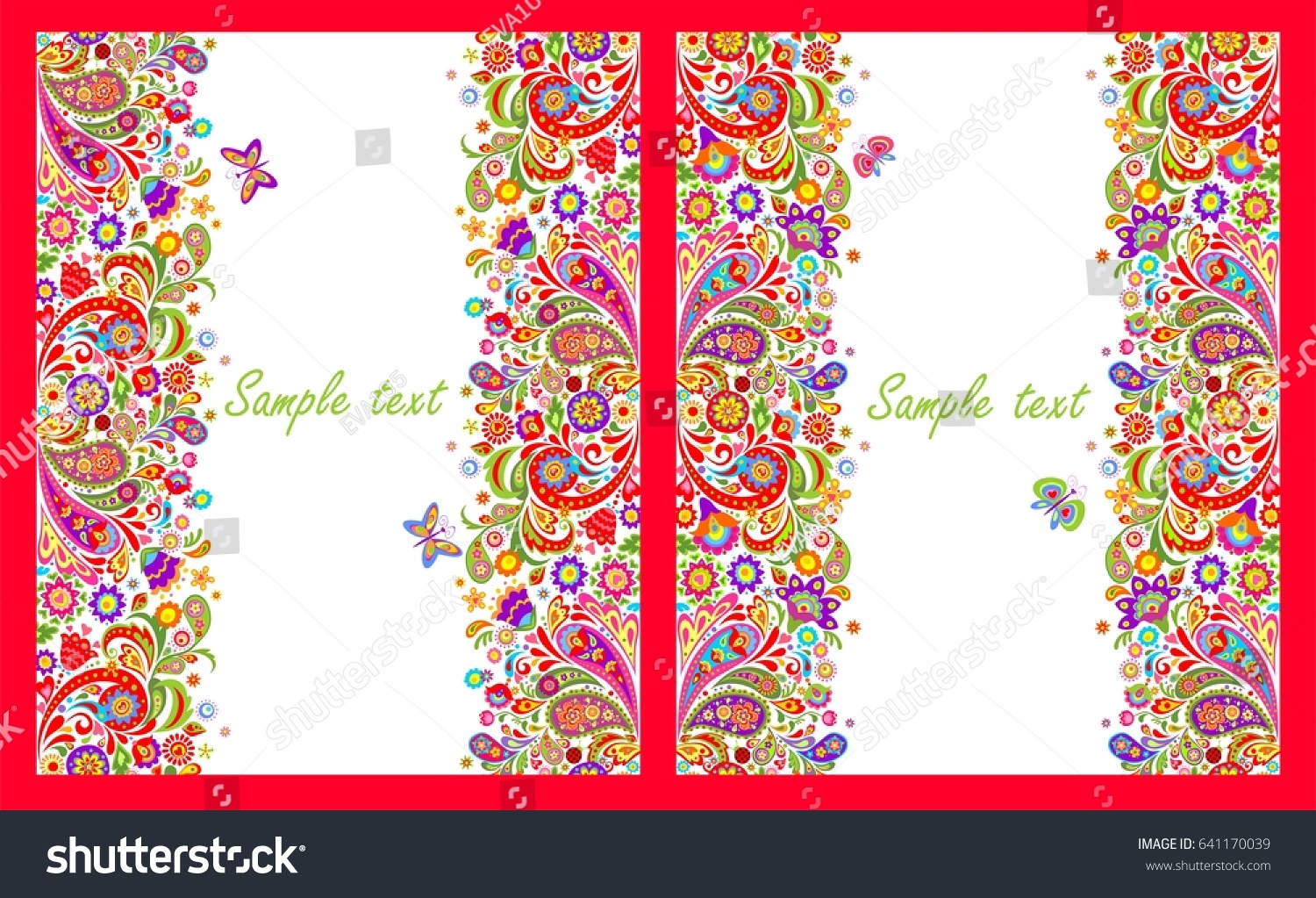 Greeting cards seamless decorative borders colorful stock vector greeting cards with seamless decorative borders with colorful abstract flowers print on white background kristyandbryce Image collections