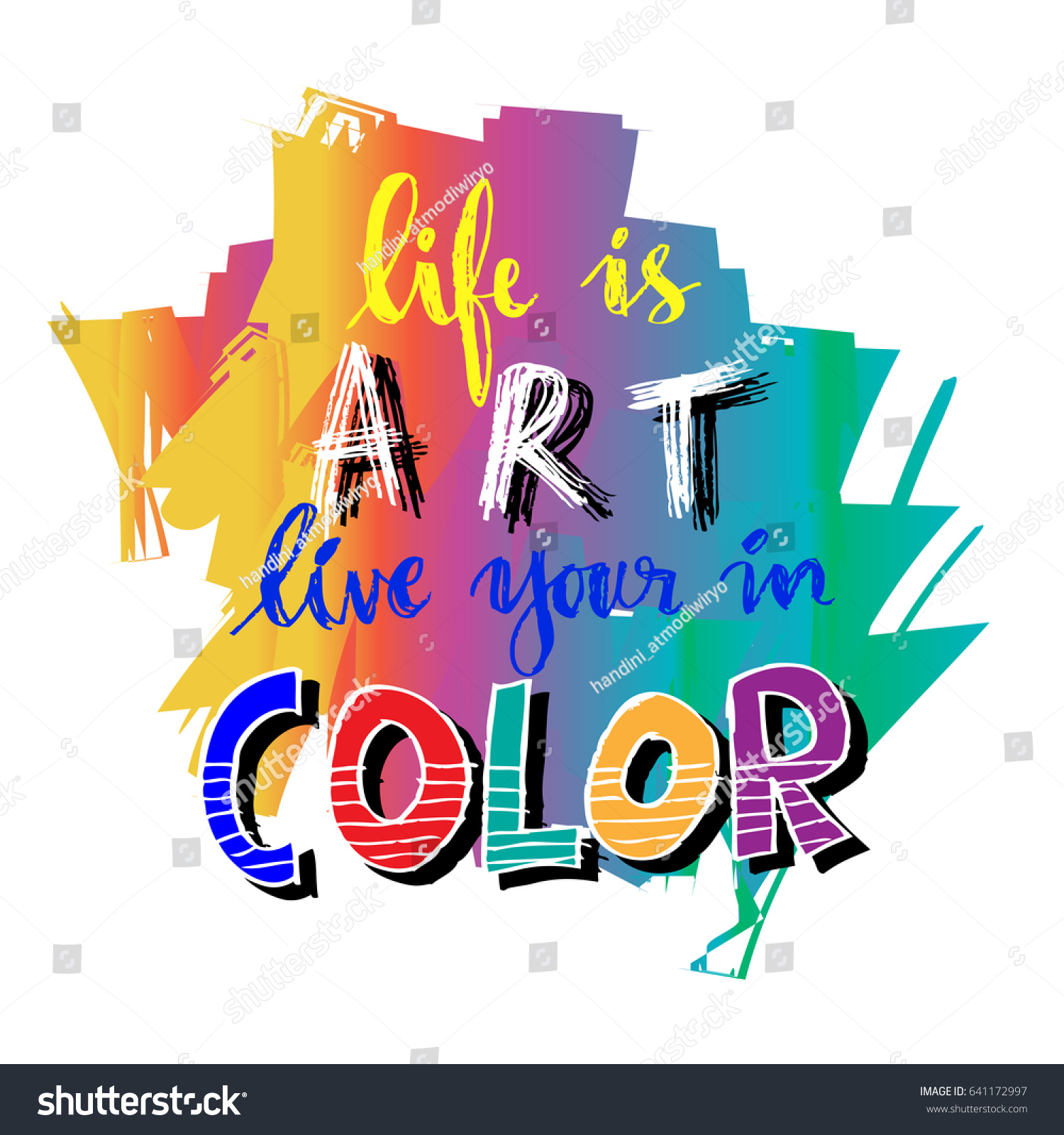 Color Your Life Quotes Life Art Live Your Color Hand Stock Vector 641172997  Shutterstock