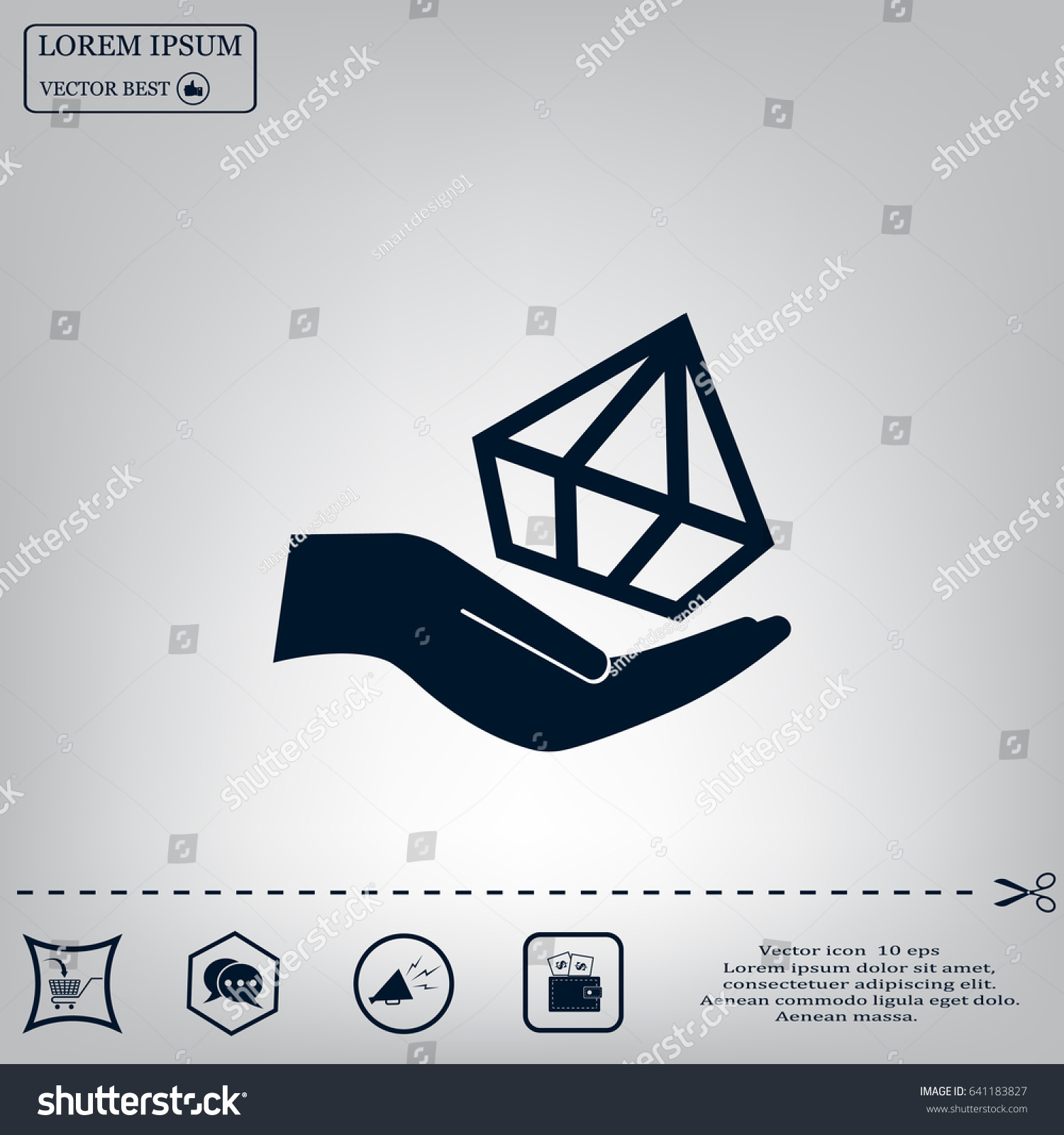 Jewelry insurance sign hand holds diamond stock vector 641183827 hand holds diamond symbol brilliant insurance icon on blurred background biocorpaavc