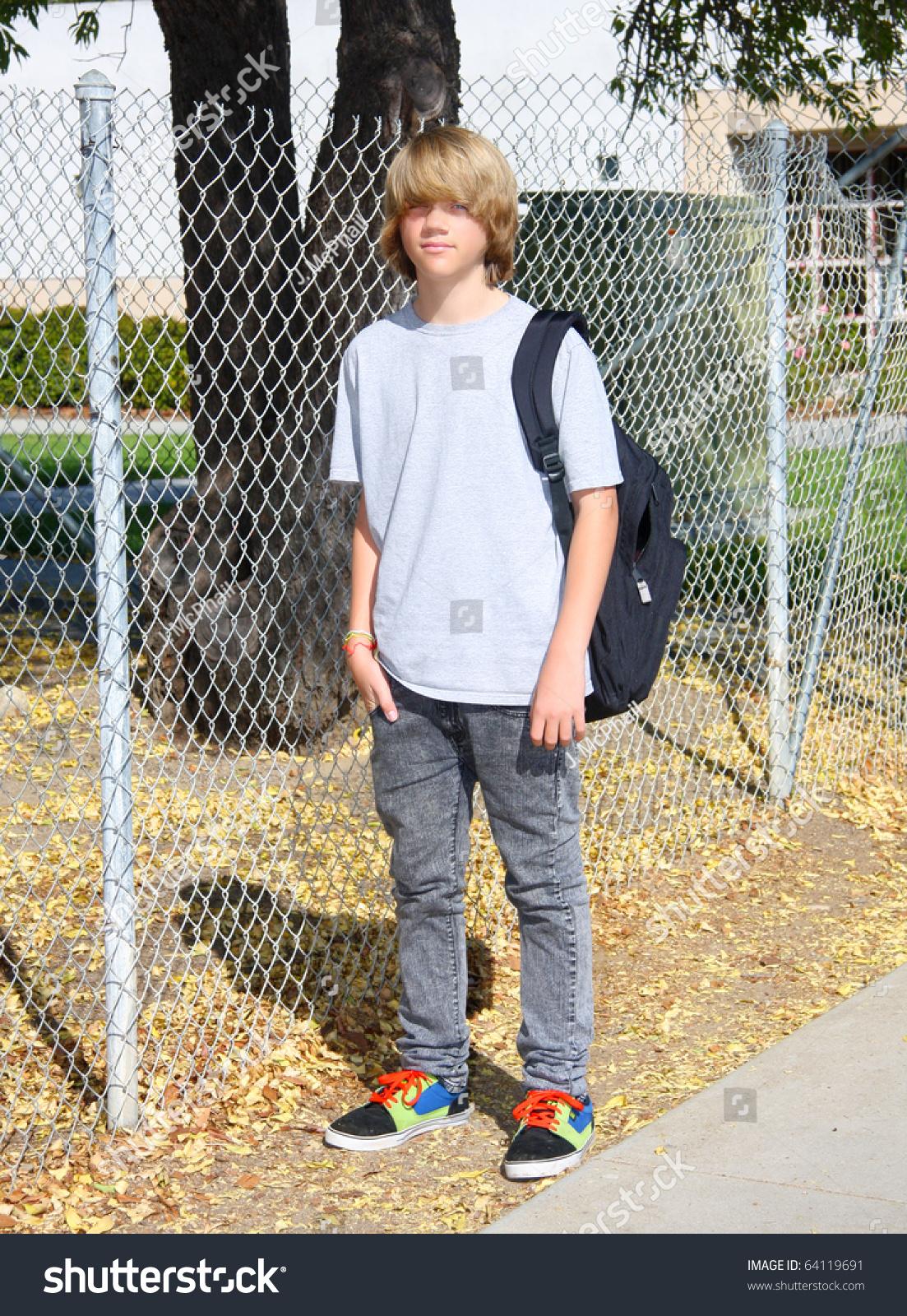 Cute Teen Boy Standing Front Chain Stock Photo 64119691 - Shutterstock-3674