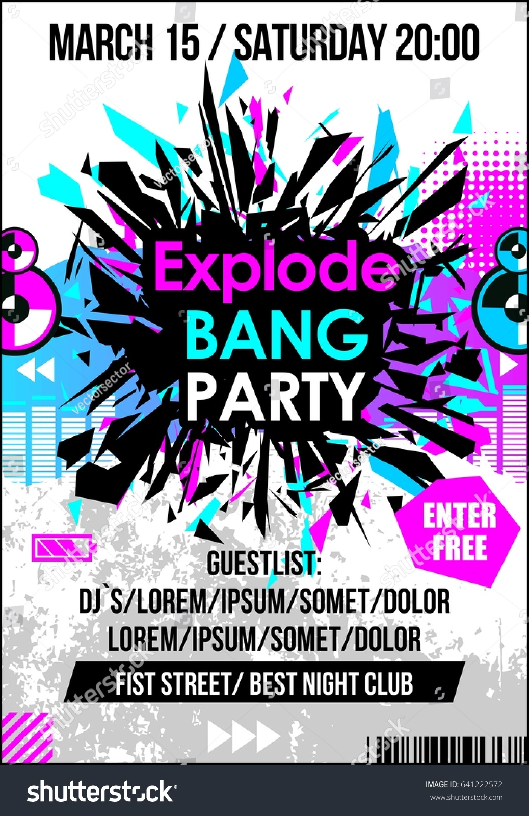 Party Dance Music Poster Banner Flyer Vector de stock641222572 ...
