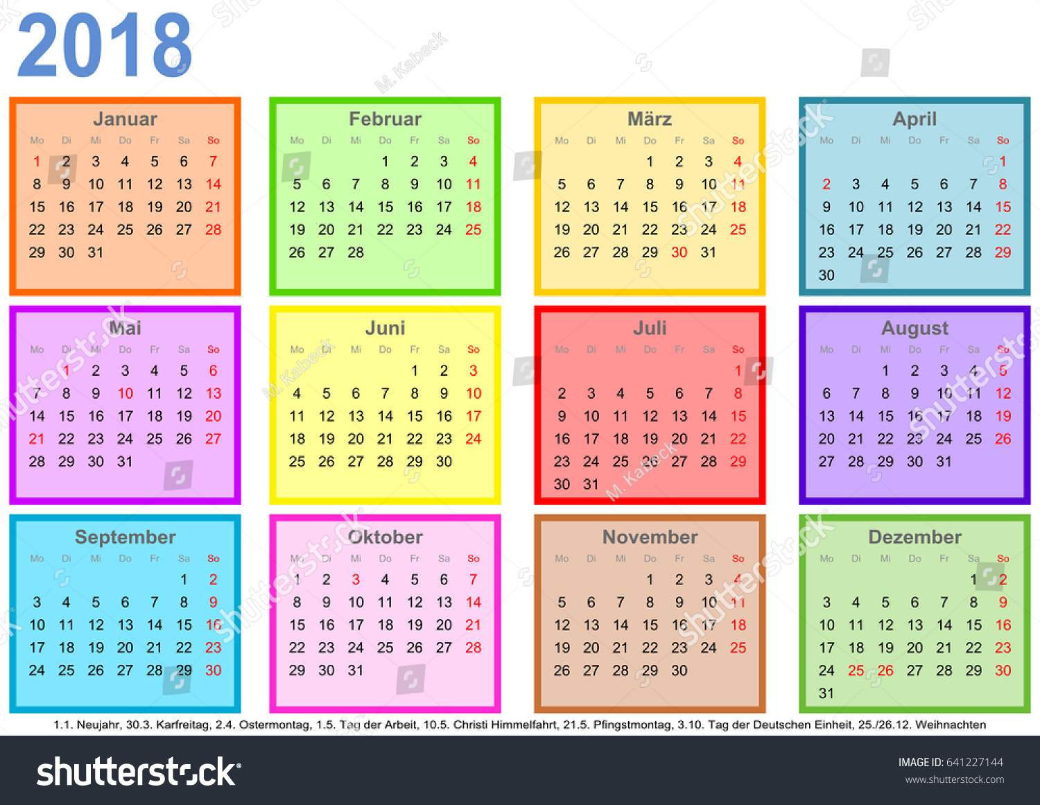 Royalty Free Calendar 2018 Each Month In A 641227144 Stock Photo