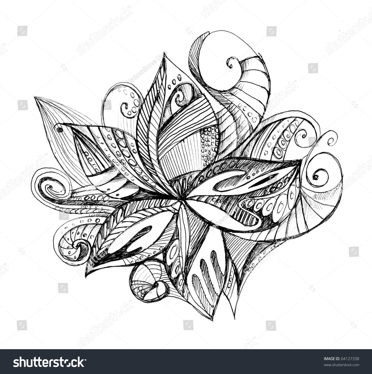 Abstract Unusual Pencil Drawing Stock Illustration 64127338 ...