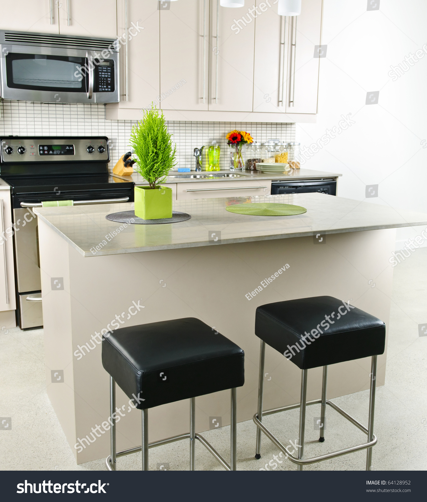 Natural Stone Kitchen Countertops: Modern Kitchen Interior With Island And Natural Stone
