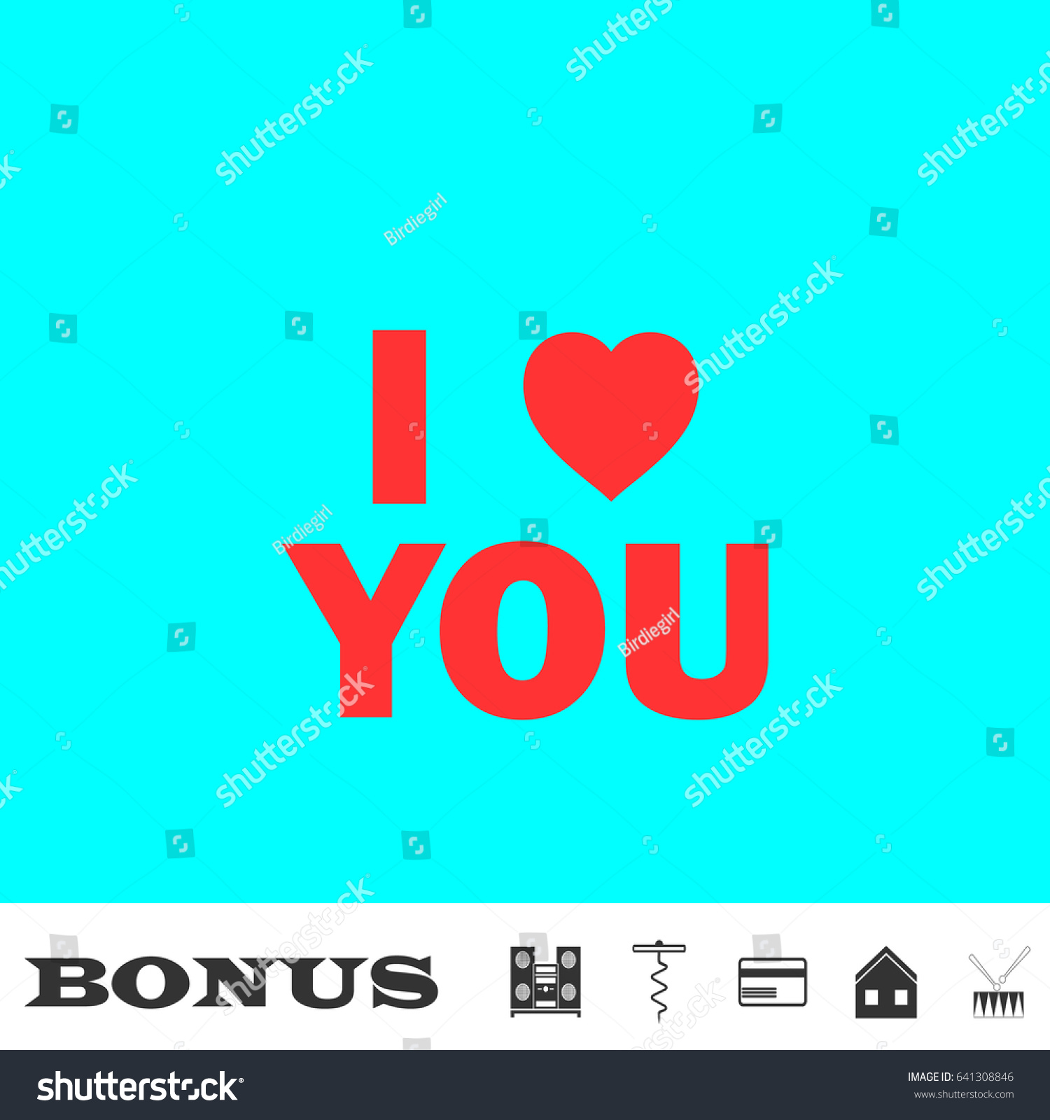Love You Icon Flat Red Pictogram Stock Vector 641308846 Shutterstock