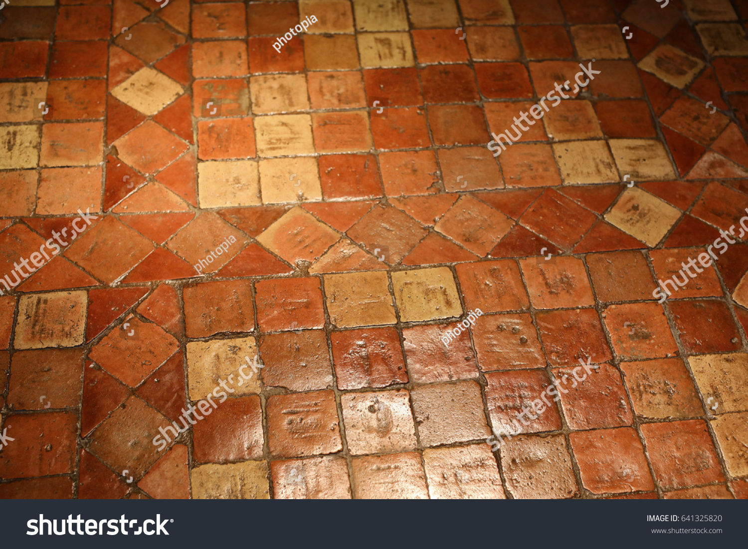 Waxed antique french terracotta floor tiles stock photo royalty waxed antique french terracotta floor tiles dailygadgetfo Images