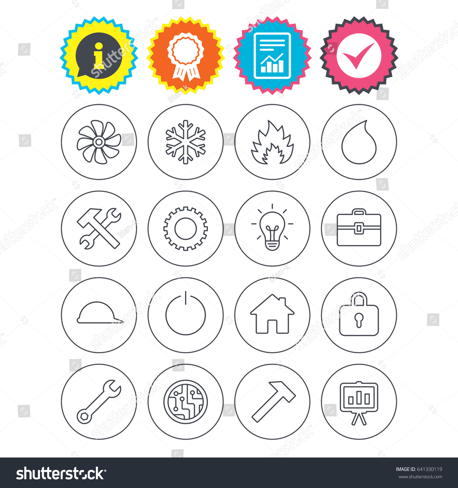 Report Information Award Signs Engineering Icons Stock Vector