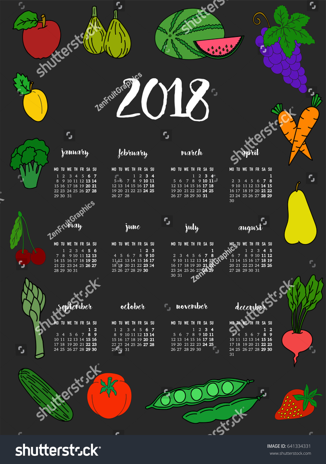 Kitchen Calendar Design : Kitchen calendar design template stock