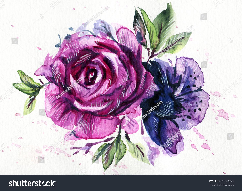 Purple Blue Flowers Watercolor Handdrawn Illustration Stock