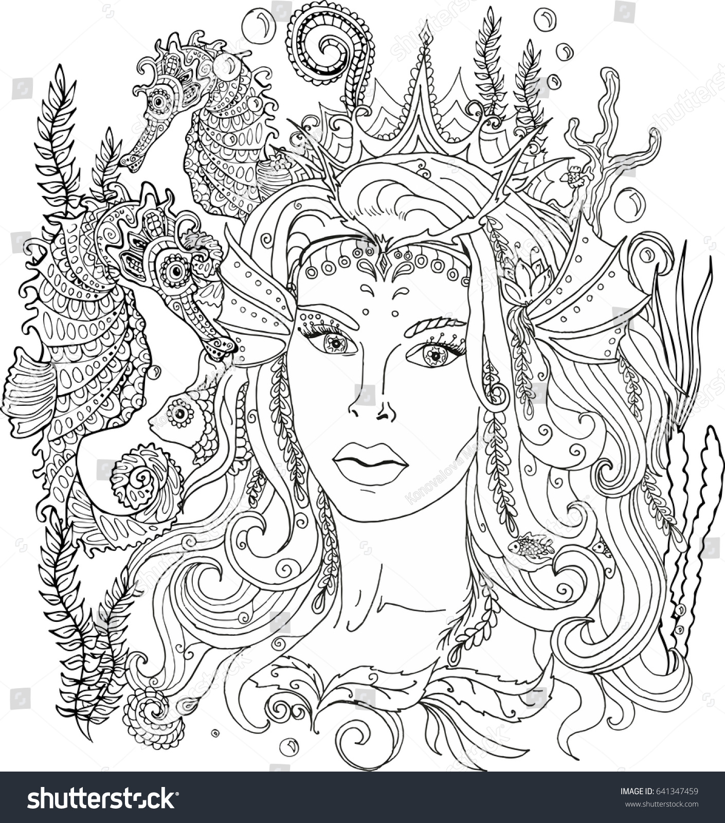 Vector Image Of Coloring Pages For Adults Mermaid Underwater Queen Ornament