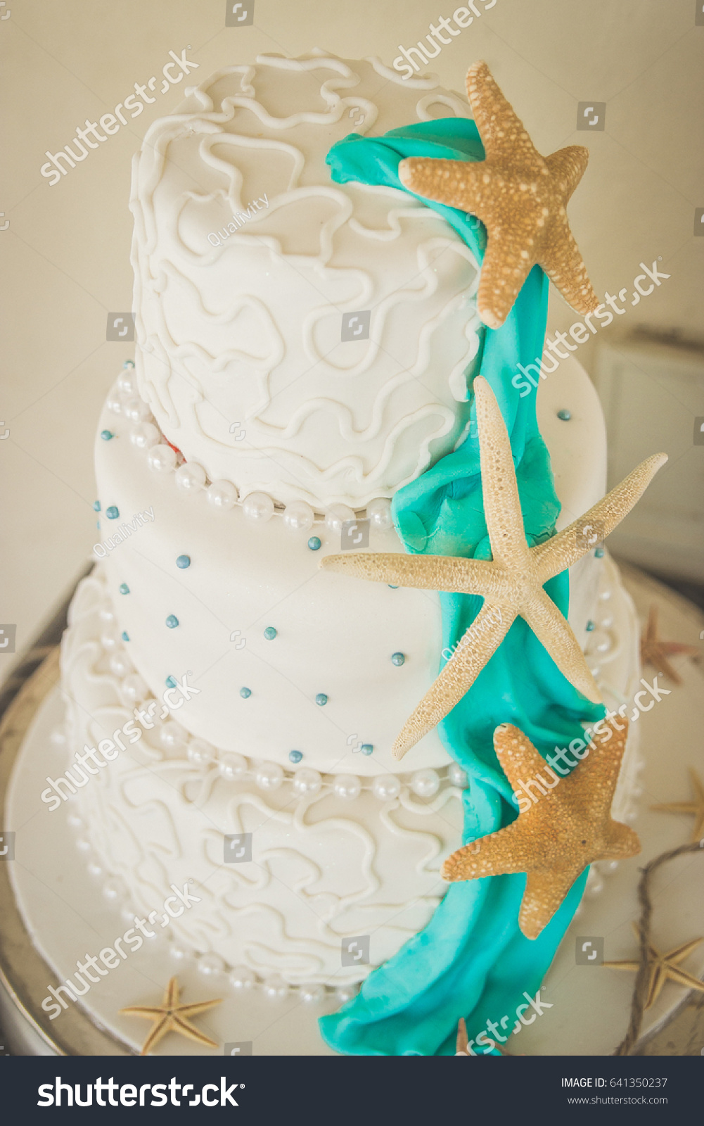 Starfish Beach Themed Wedding 3 Layer Stock Photo (Royalty Free ...