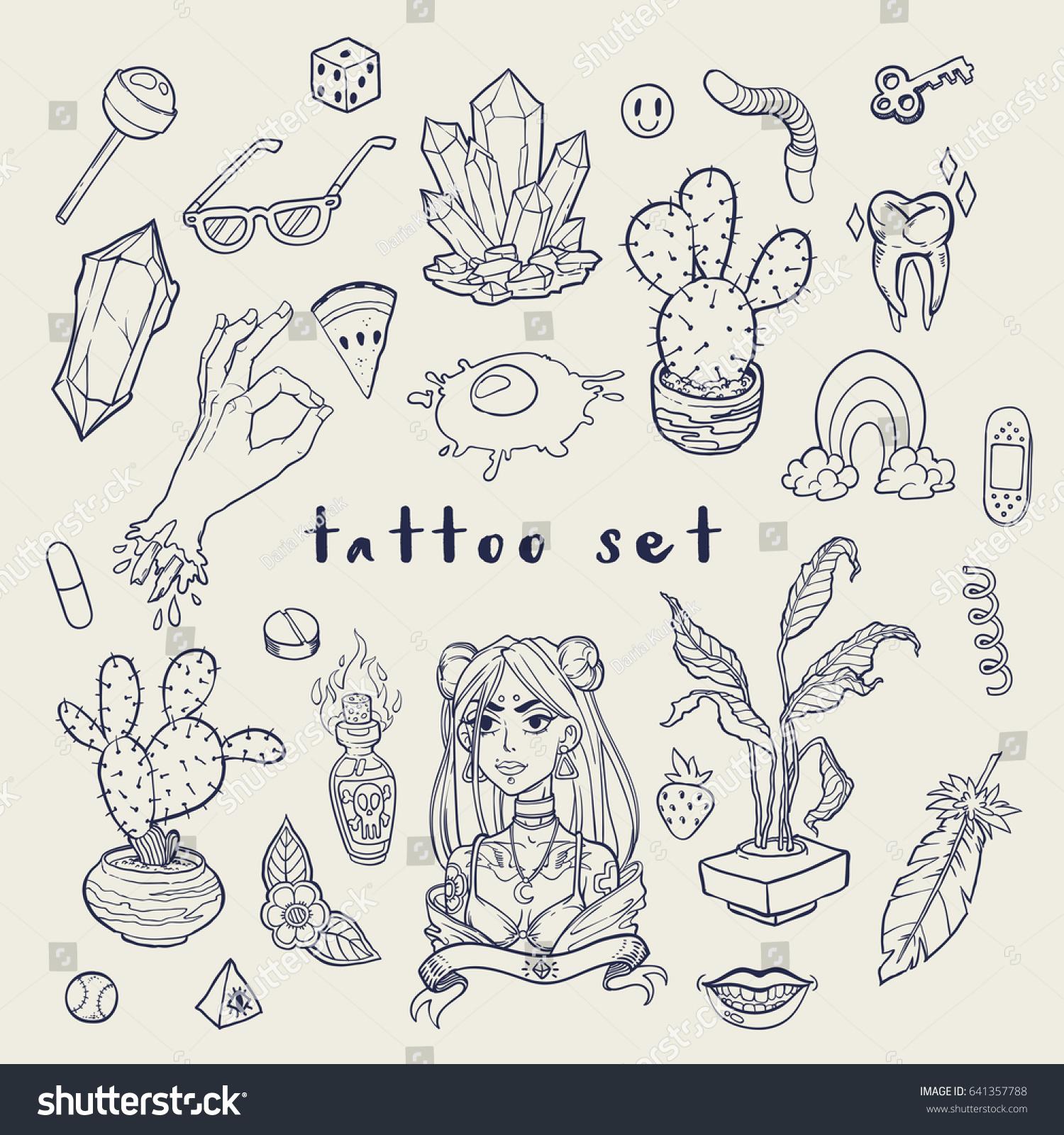 25d2731d7e872 Set of Old School Tattoo Elements. Tattoo-art design. Hand-drawn vector.