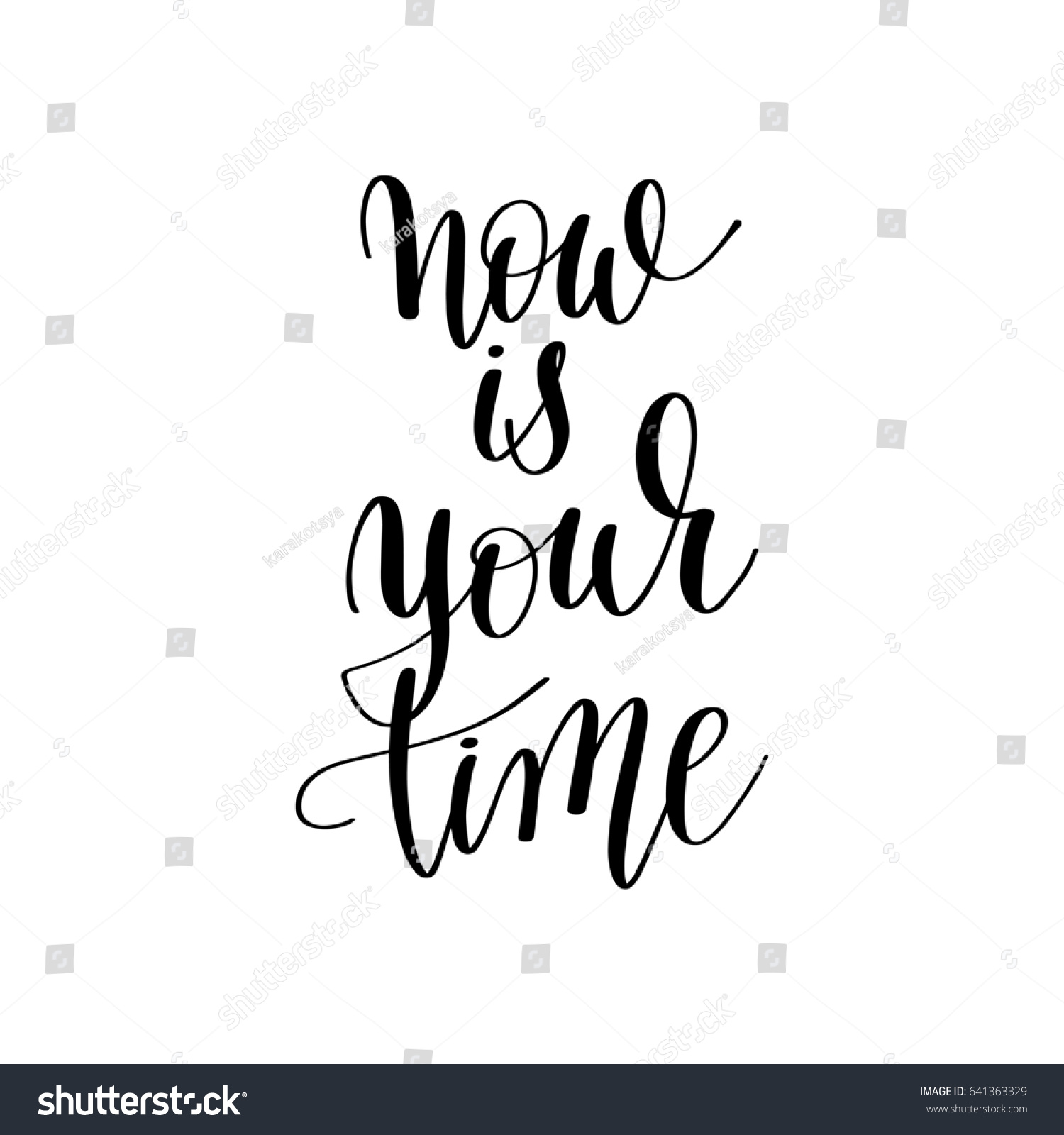 Dow Quotes Real Time: Now Your Time Inspirational Quote About Stock Illustration