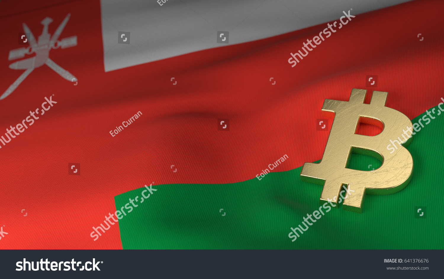 Bitcoin Currency Symbol On Flag Oman Stock Photo Royalty Free