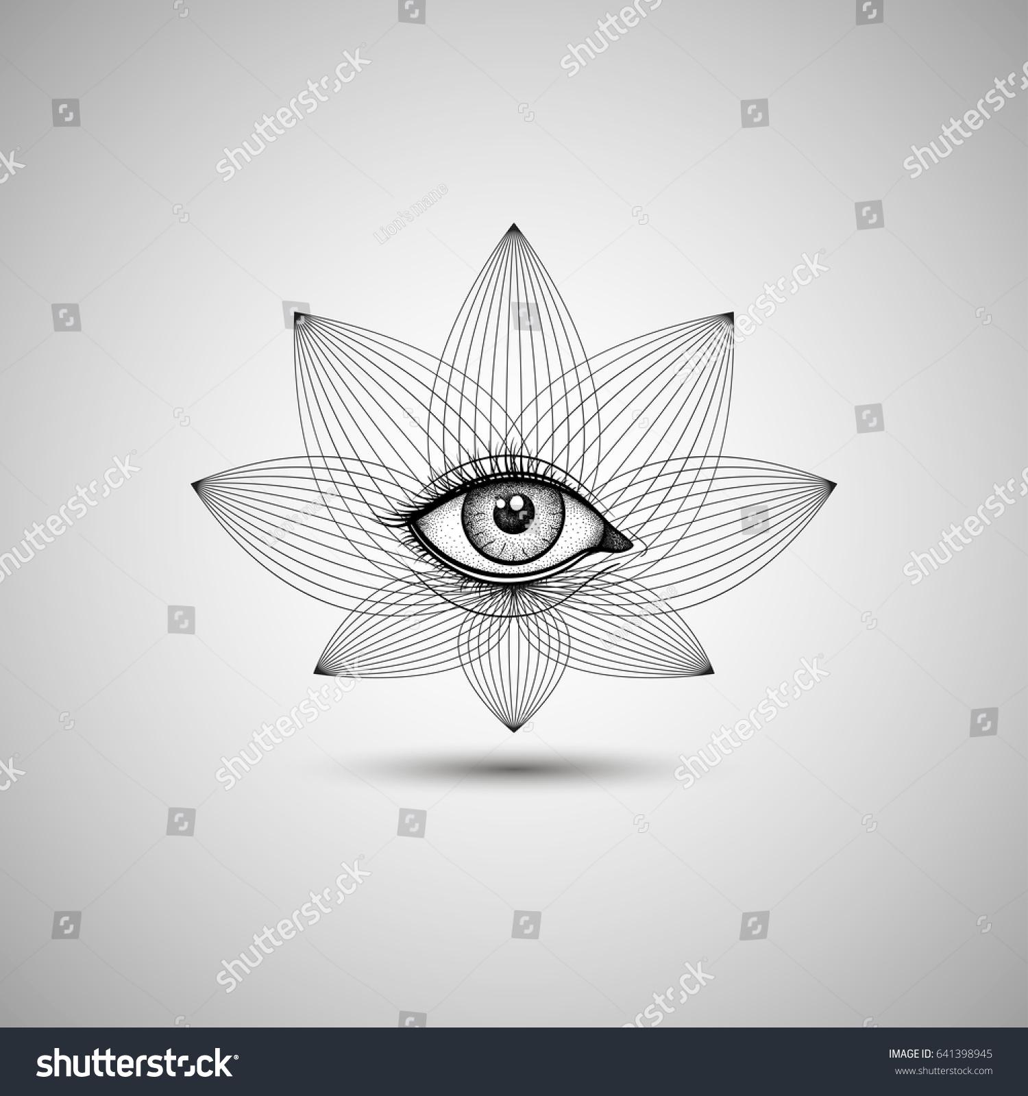 Vintage all seeing eye lotus flower stock vector 641398945 vintage all seeing eye in lotus flower vector providence magic symbol for print tattoo buycottarizona