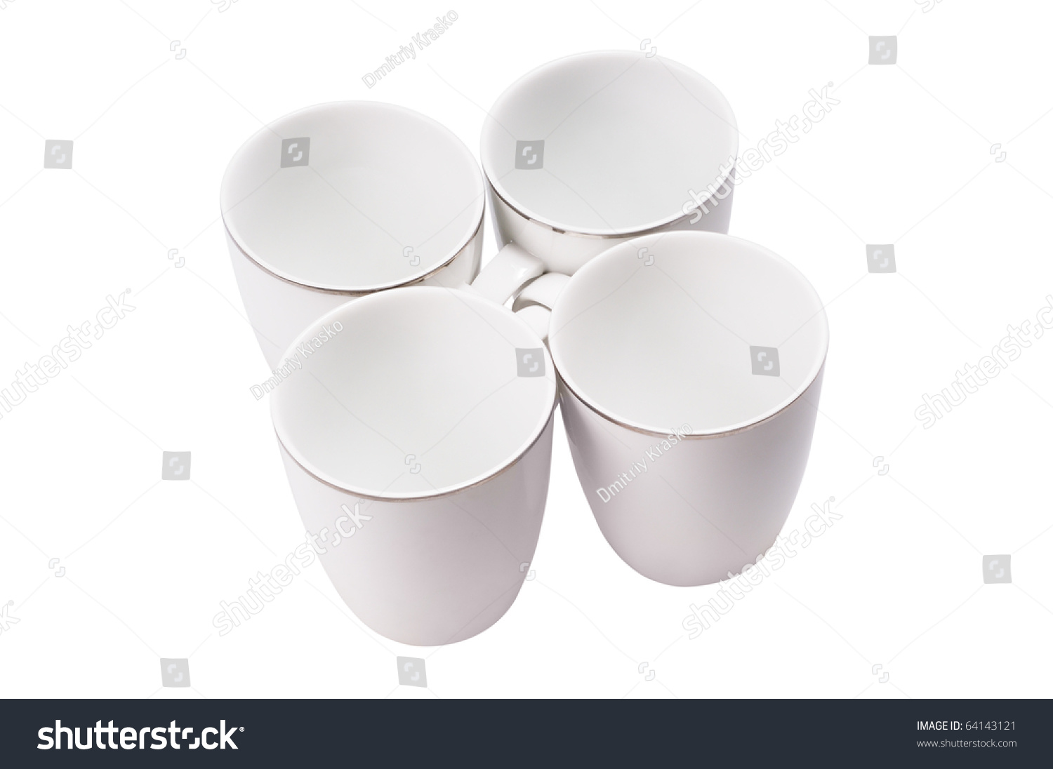 Empty Cup Top : Four empty cup view from top isolated on white stock