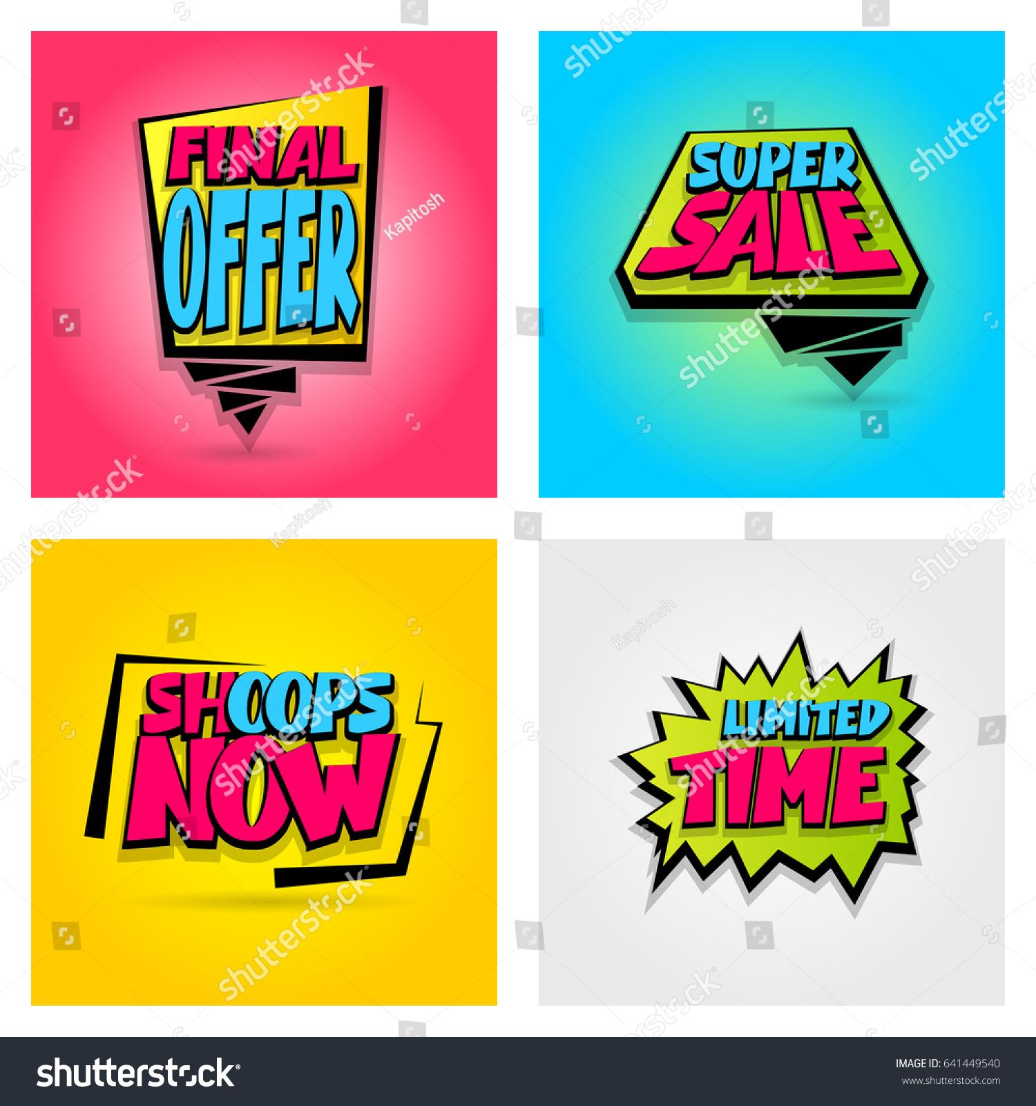 Set 4 Advertising Web Label Badge Stock Vector 641449540