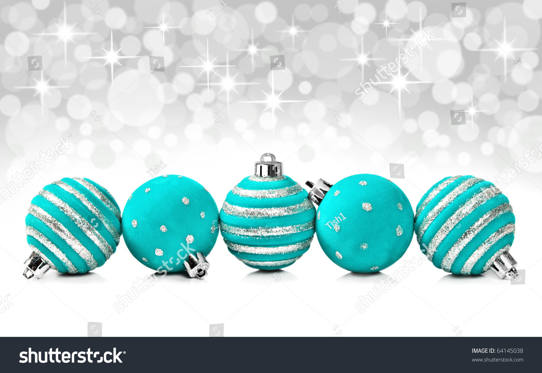 Turquoise christmas decoration balls on star stock photo for Ball balls christmas decoration