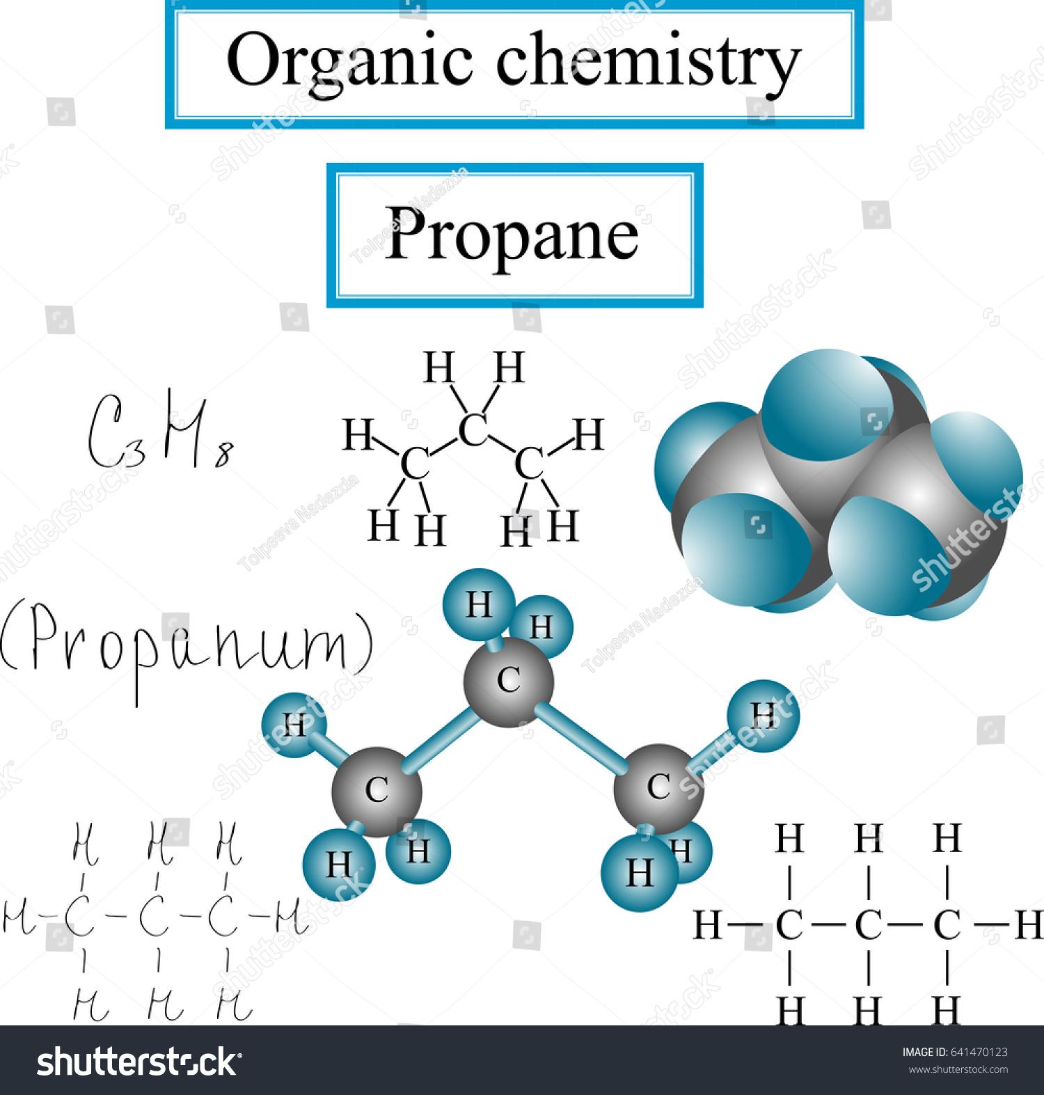 Organic Chemistry Set Structural Formulas Propane Stock Vector