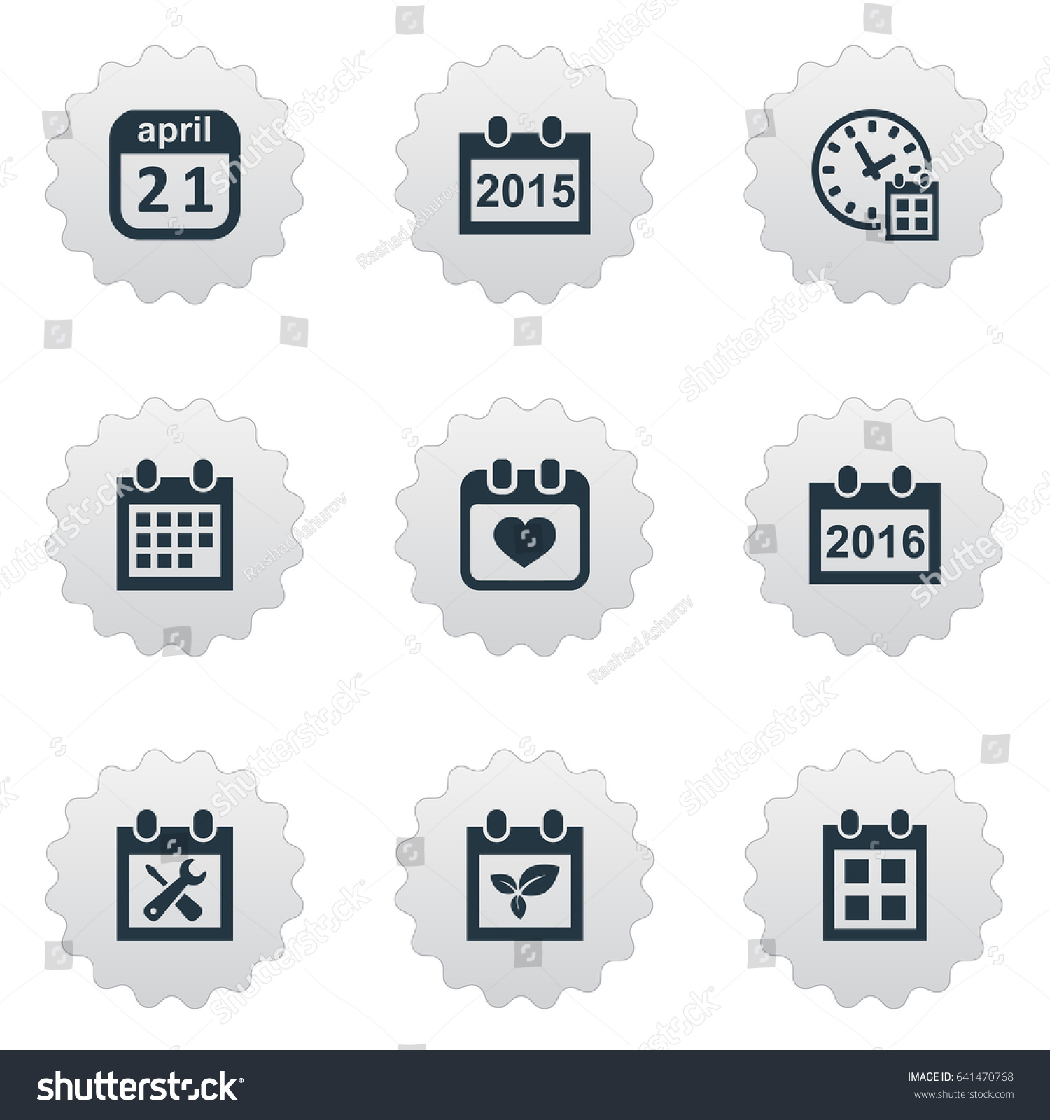 Vector Illustration Set Of Simple Calendar Icons Elements Annual Reminder 2016 And