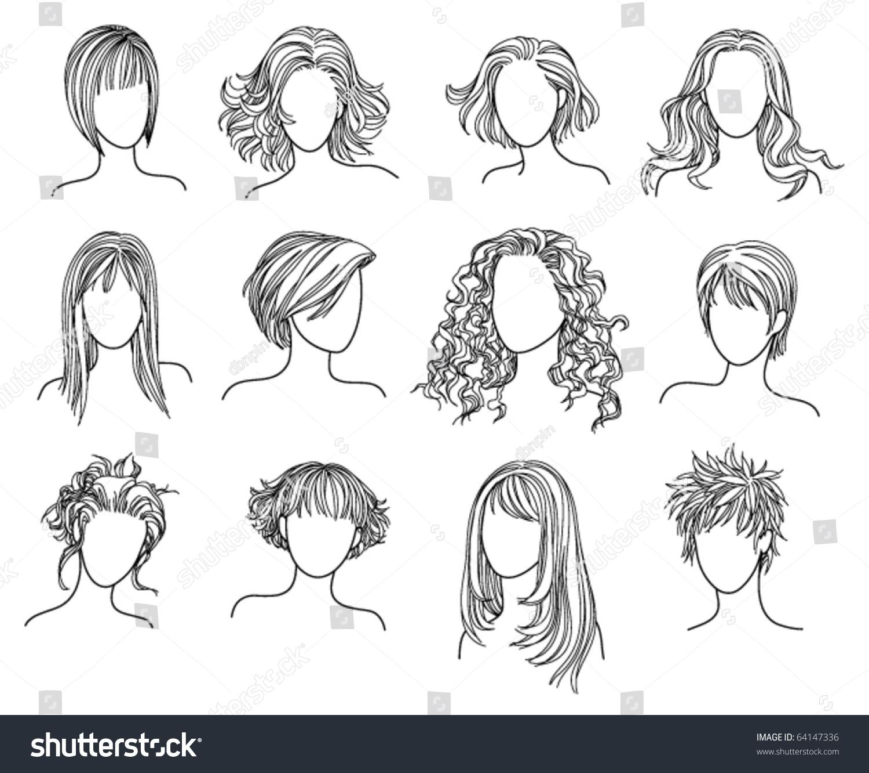 Vector Hairstyles: Hairstyles Illustration Of Twelve Hairstyles