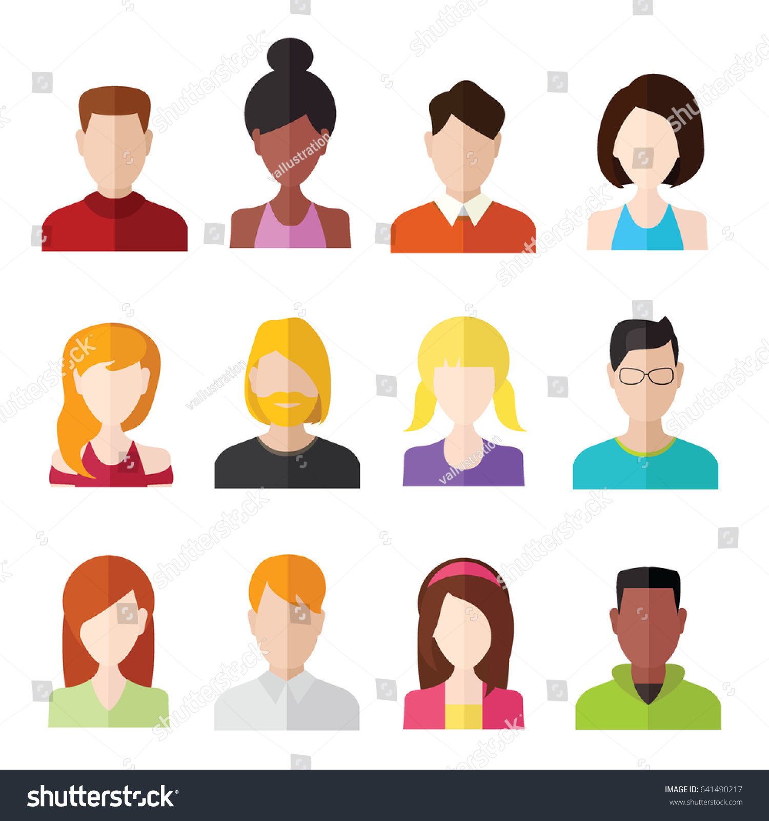 Flat people icons male female face stock vector 641490217 flat people icons male and female face avatars biocorpaavc