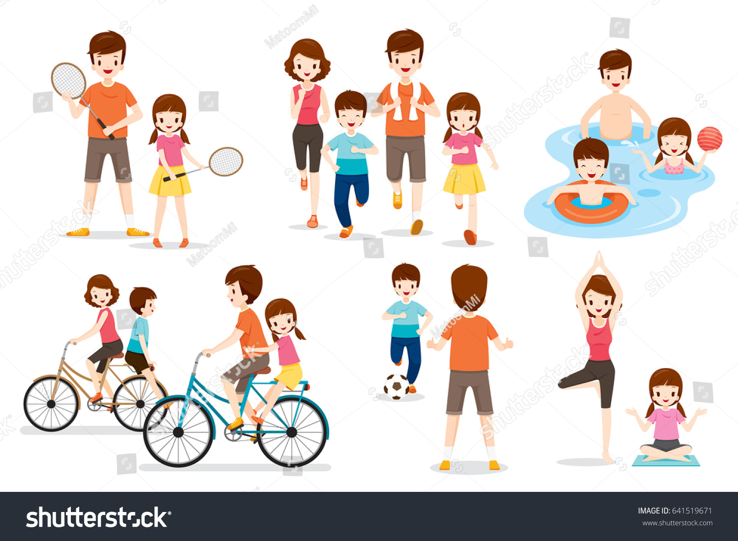 set family various exercise sports activities stock vector 641519671 shutterstock. Black Bedroom Furniture Sets. Home Design Ideas