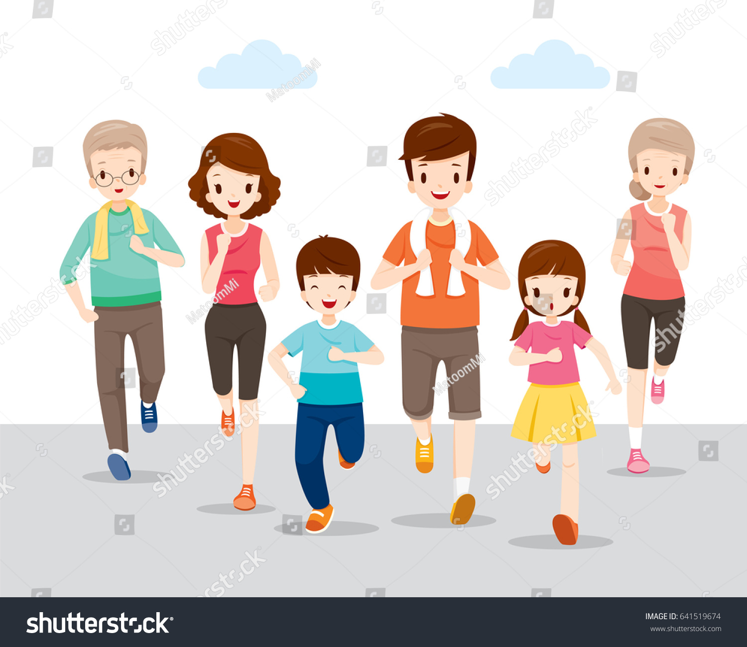 happy family running together good health stock vector 641519674 shutterstock. Black Bedroom Furniture Sets. Home Design Ideas