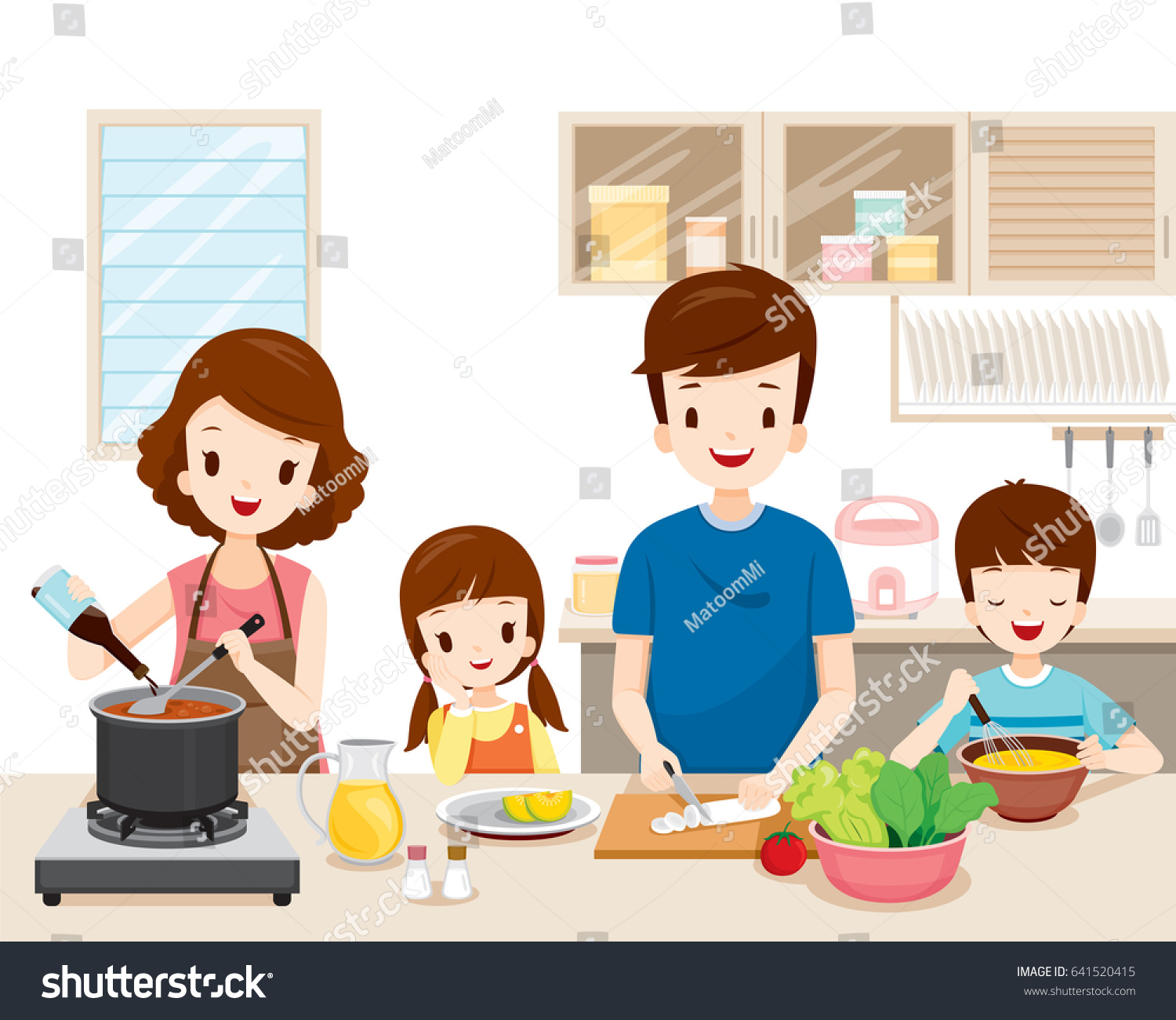 Selection of cartoons on cooking kitchens food and eating - Happy Family Cooking Food In The Kitchen Together Kitchenware Crockery House Home