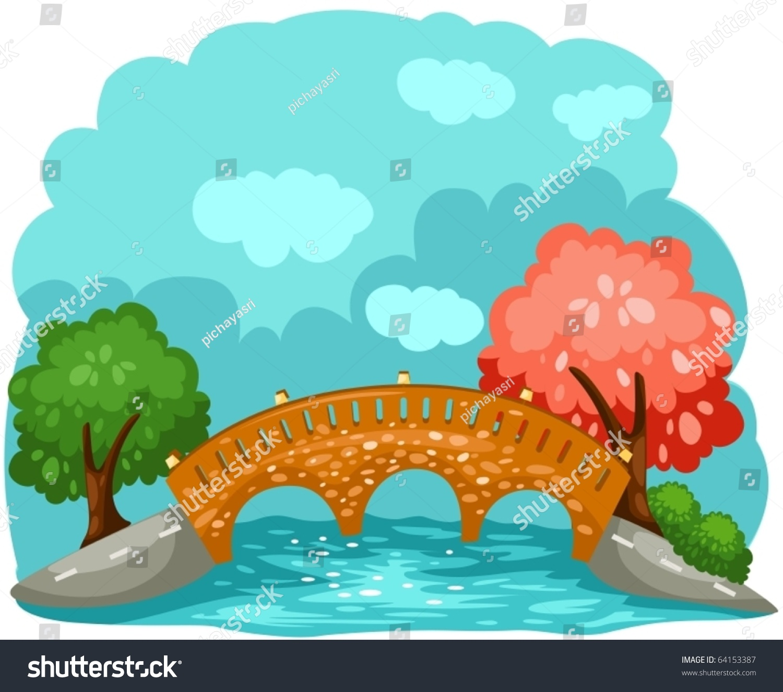 Illustration Landscape Cartoon Bridge Stock Vector