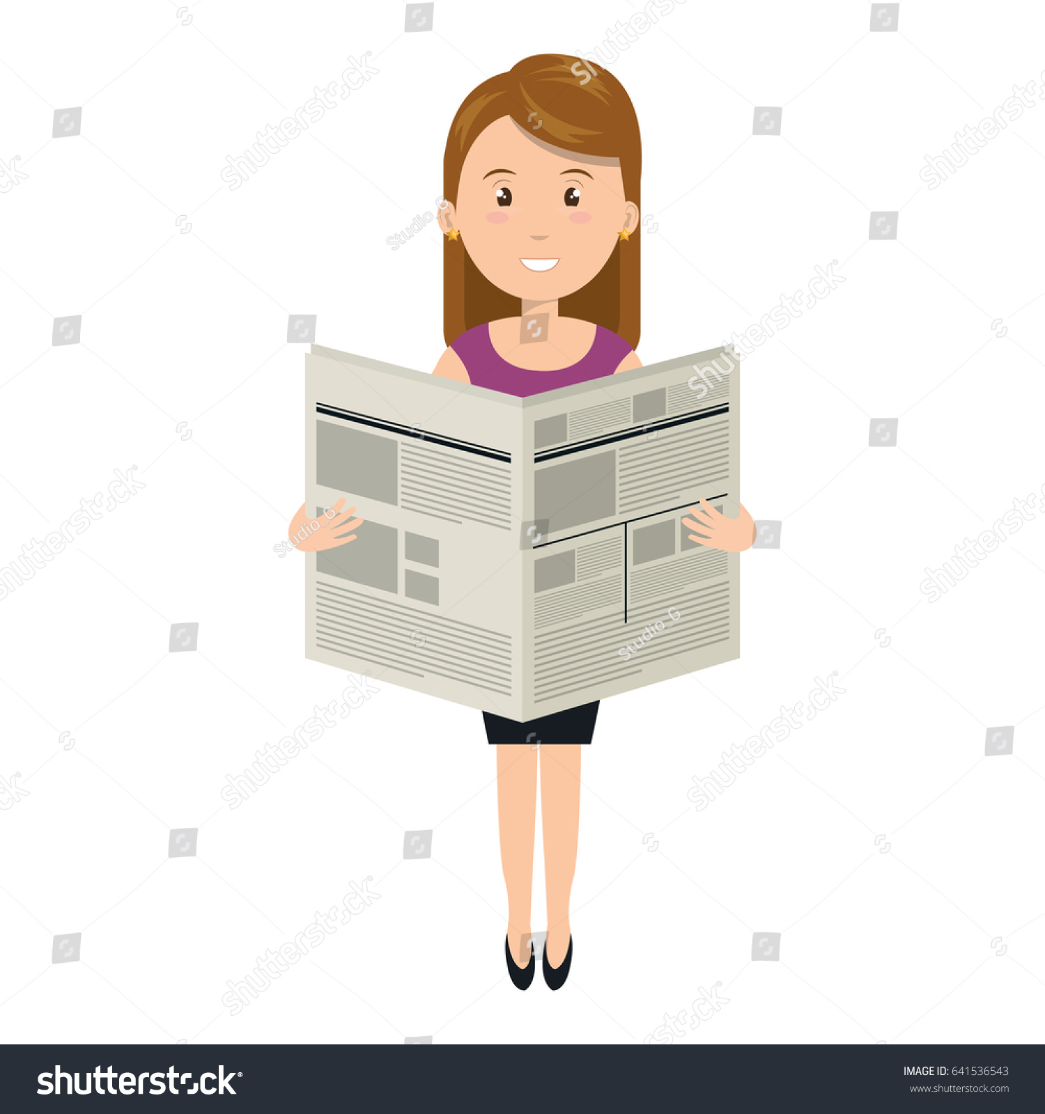 young woman reading newspaper avatar character stock vector (royalty