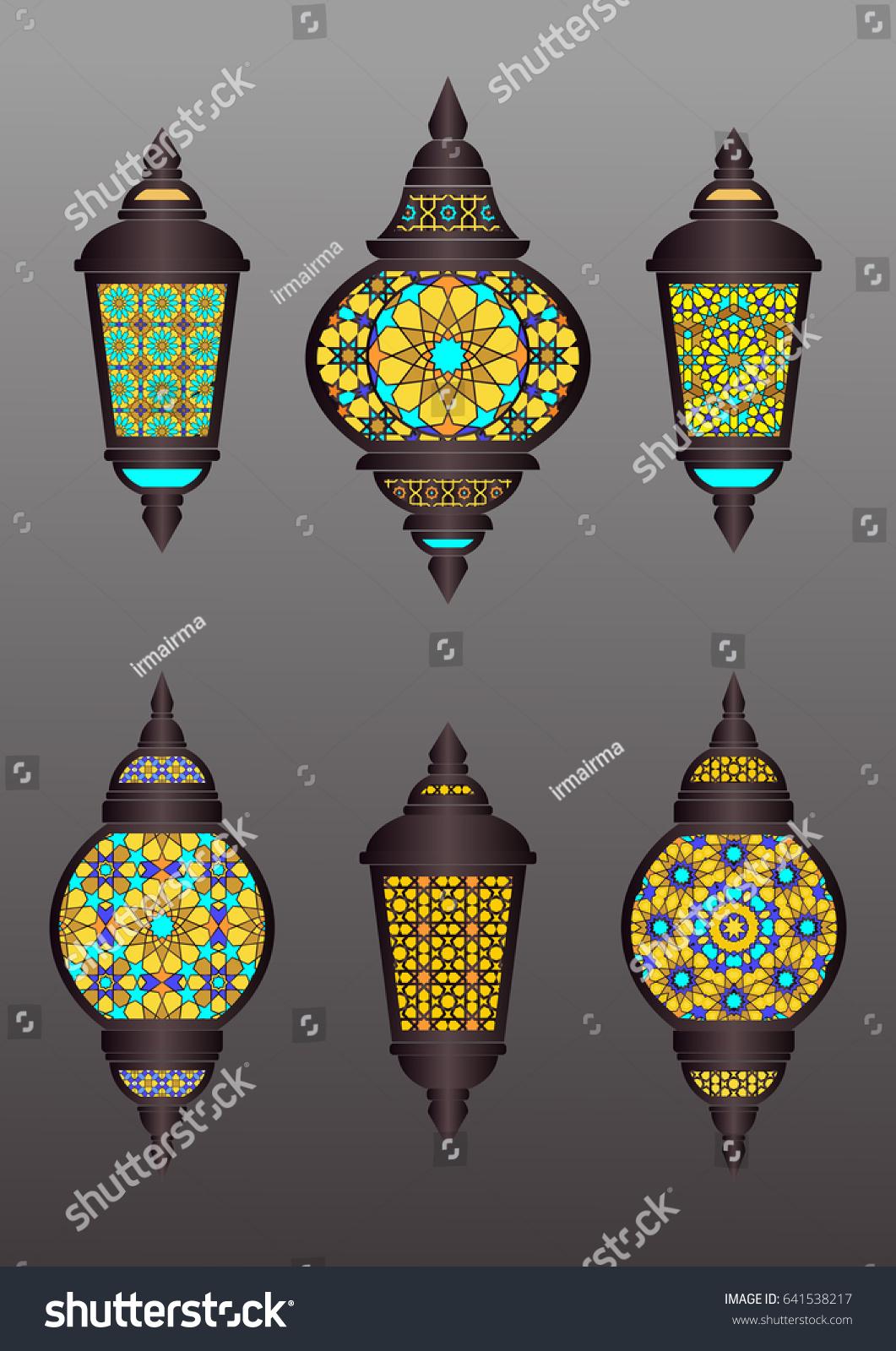 Set Eastern Lantern Traditional Arabic Lamp Stock Vector 641538217 ... for Traditional Arabic Lamp  111bof