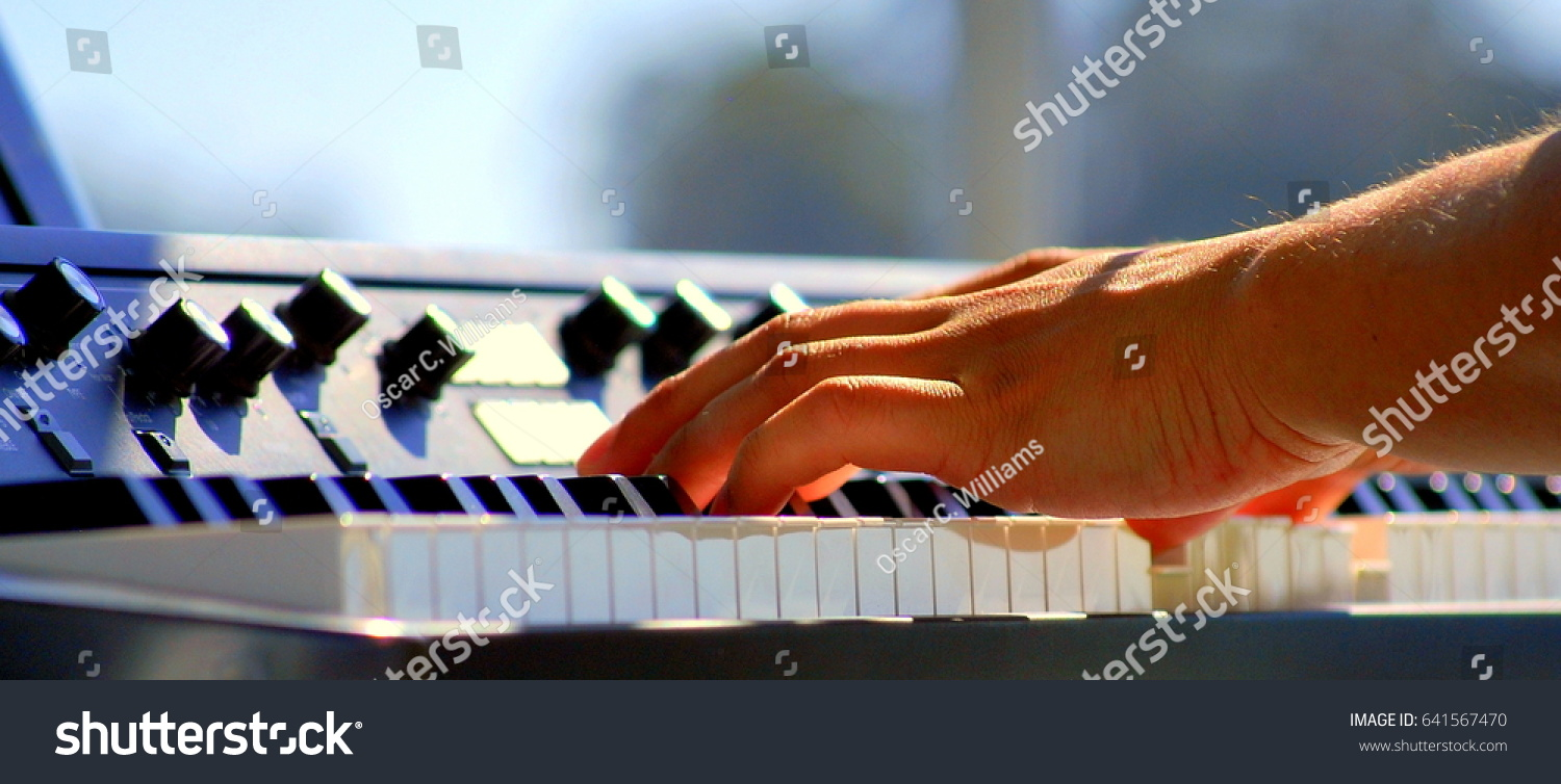 Latin Jazz Piano Player Performing Solo Stock Photo (Edit