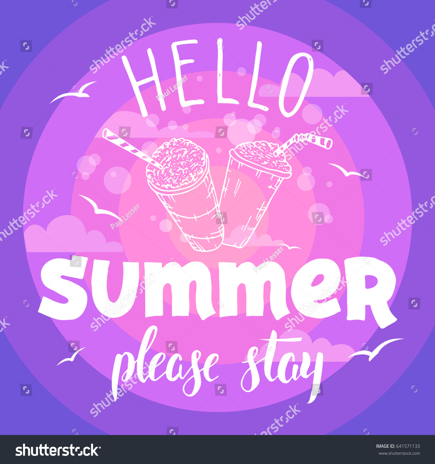 Hello Summer Please Stay Vintage Hand Stock Vector Royalty Free
